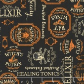 Under A Spell - Large Labels Black Yardage