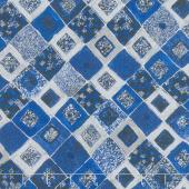 Gustav Klimt - Squares Diamonds Sapphire Metallic Yardage