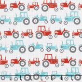 Wildflower Farm - Tractors White Yardage