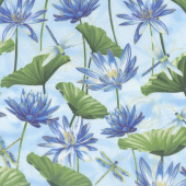 Dragonfly Dance - Blue Water Lily Pool Light Blue Metallic Yardage