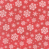 Gnome for Christmas - Snowflakes Red Flannel Yardage