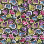 Cat - i - tude - Swirling Hearts Black Multi Yardage