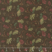 Return to Cub Lake - Oak Leaves Dark Brown Flannel Yardage