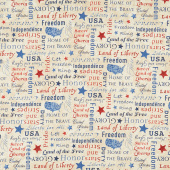 Stonehenge Stars and Stripes VIII - Inspirational Words Beige Multi Yardage