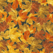 Giving Thanks - Leaves Gold Metallic Yardage