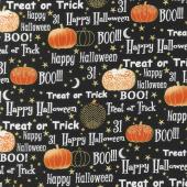 Midnight Spell - Halloween Words Metallic Yardage