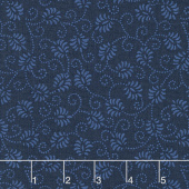 Wilmington Essentials - In the Navy Dancing Buds Navy on Navy Yardage