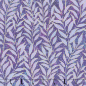 Shimmer Dragonfly Moon - Royal Garden Leaf Blender Purple Yardage