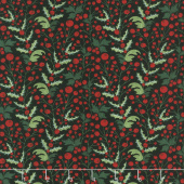 Kringle and Claus - Holly Berry Coal Yardage