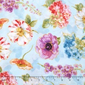 Rainbow Seeds - Florals Allover Blue Yardage