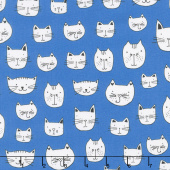 Whiskers & Tails - Cat Head Blue Yardage