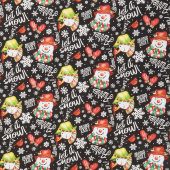 Snow Bird - Words and Snowmen Tossed Black Flannel Yardage