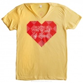 Quilting is a Work of Heart Large Women's Fitted V-Neck T-Shirt - Banana Cream