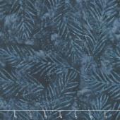Car-Pool Lane Batiks - Delicate Fronds Dark Blue Yardage