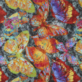 Dreamscapes II - Large Butterflies Black/Multi Digitally Printed Yardage