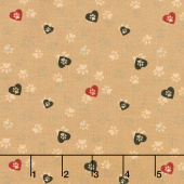 Wigglebutts - Love Paws Caramel Yardage