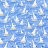 Harbor Lights - Sailboats Blue Yardage