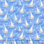 Harbor Lights - Sailboats Blue Yardage