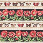 Harlequin Poppies - Repeating Stripe Multi Yardage