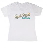Quilt Now Sleep Later White V Neck T Shirt - 2XL