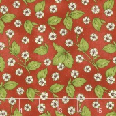From the Farm - Strawberry Blossoms Red Yardage