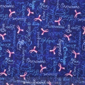 Novelty - Cancer Awareness Pink Ribbon Blue Yardage