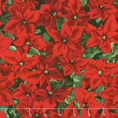 Merry, Berry, and Bright - Glimmering Poinsettia Radiant Pine Metallic Yardage