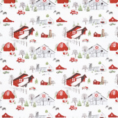 Holiday Heartland - Barns and Trucks Scenic Gray Red Yardage