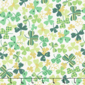 Novelty - Tossed Patterned Shamrocks White Metallic Yardage