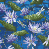 Dragonfly Dance - Blue Water Lily Pool Cobalt Blue Metallic Yardage
