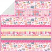Minky Happy Elephants Pink Strip Quilt Kit