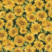 Shades of the Season 10 - Sunflowers Black Metallic Yardage