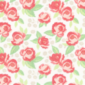 Bloomington - Faded Blooms Eggshell Yardage