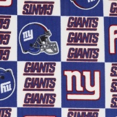 NFL Fleece - New York Giants Blue/White Yardage