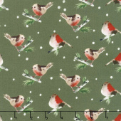 Winter Woods - Birds in Dark Gray Yardage