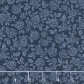 Hedge Rose - Floral Navy Yardage