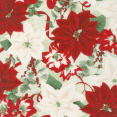 Let It Sparkle - Holiday Bouquet Radiant Silver Sage with Red Glitter Yardage
