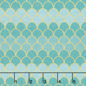Let's Be Mermaids - Scallops Teal Sparkle Yardage