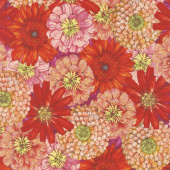 Blossom & Bloom - Packed Flowers Red Yardage