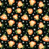 Here We Glow - Tossed Pumpkins Black Glow in the Dark Yardage