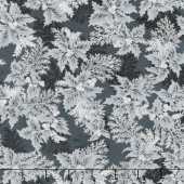 Holiday Flourish 11 - Silver Branches Ebony Metallic Yardage