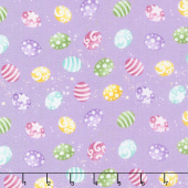 Hoppy Easter - Mini Tossed Easter Eggs Lilac Yardage
