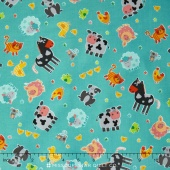 Funny Farm - Tossed Animals Blue Yardage