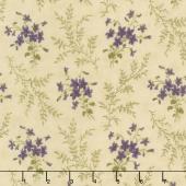 Sweet Violet - Violets & Ferns Ivory Yardage