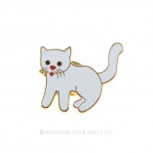 Cat White Pin by Pin Peddlers