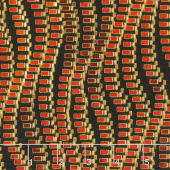 Treasures of Alexandria - Multi Waves Red Metallic Yardage