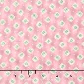 Lazy Days - Bud Circle Grid Pink Yardage