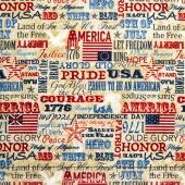 Stonehenge - Old Glory Stars & Stripes IV American Inspirations Beige Multi Yardage