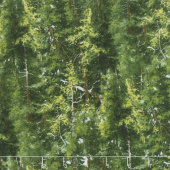The Great Outdoors - Evergreen Trees Green Flannel Yardage
