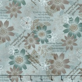 Shadows and Sunshine - Flower Collage Teal Yardage
